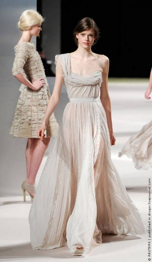Swiss model Julia Saner presents by Lebanese designer Elie Saab as part of his Haute Couture Spring-Summer 2011 fashion show in Paris