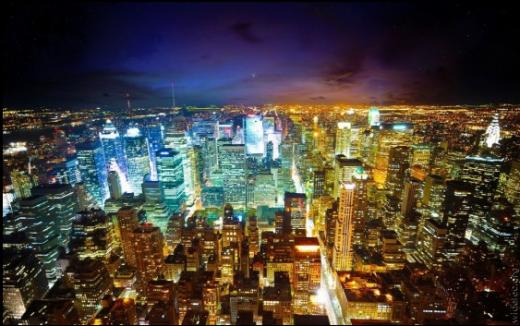 SF映画のワンシーンのように未来的で美しい、大都市の夜景写真100枚