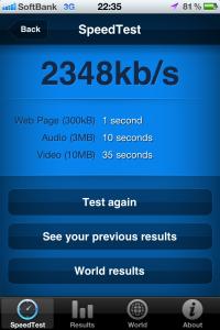 ソフトバンクのiPhone 4S 通信速度