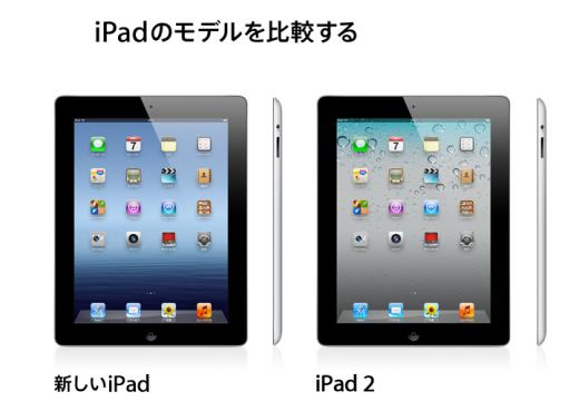 新しいiPad と iPad2 の比較