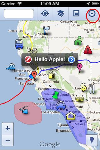 iPhoneやiPadから、Google Mapsのマイプレイスを見る