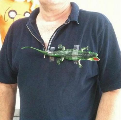 ラコステ(LACOSTE)立体ロゴ入りシャツ