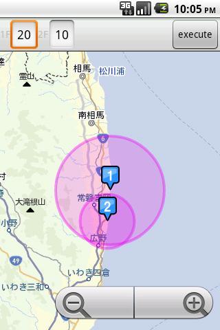福島原発からの避難範囲と風向きが分かるAndroidアプリ