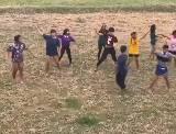 子供たちが原っぱでダンスをしていたところに牛が乱入