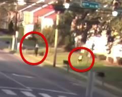 全力疾走で逃げる犯罪者を警察官が銃撃、見事命中